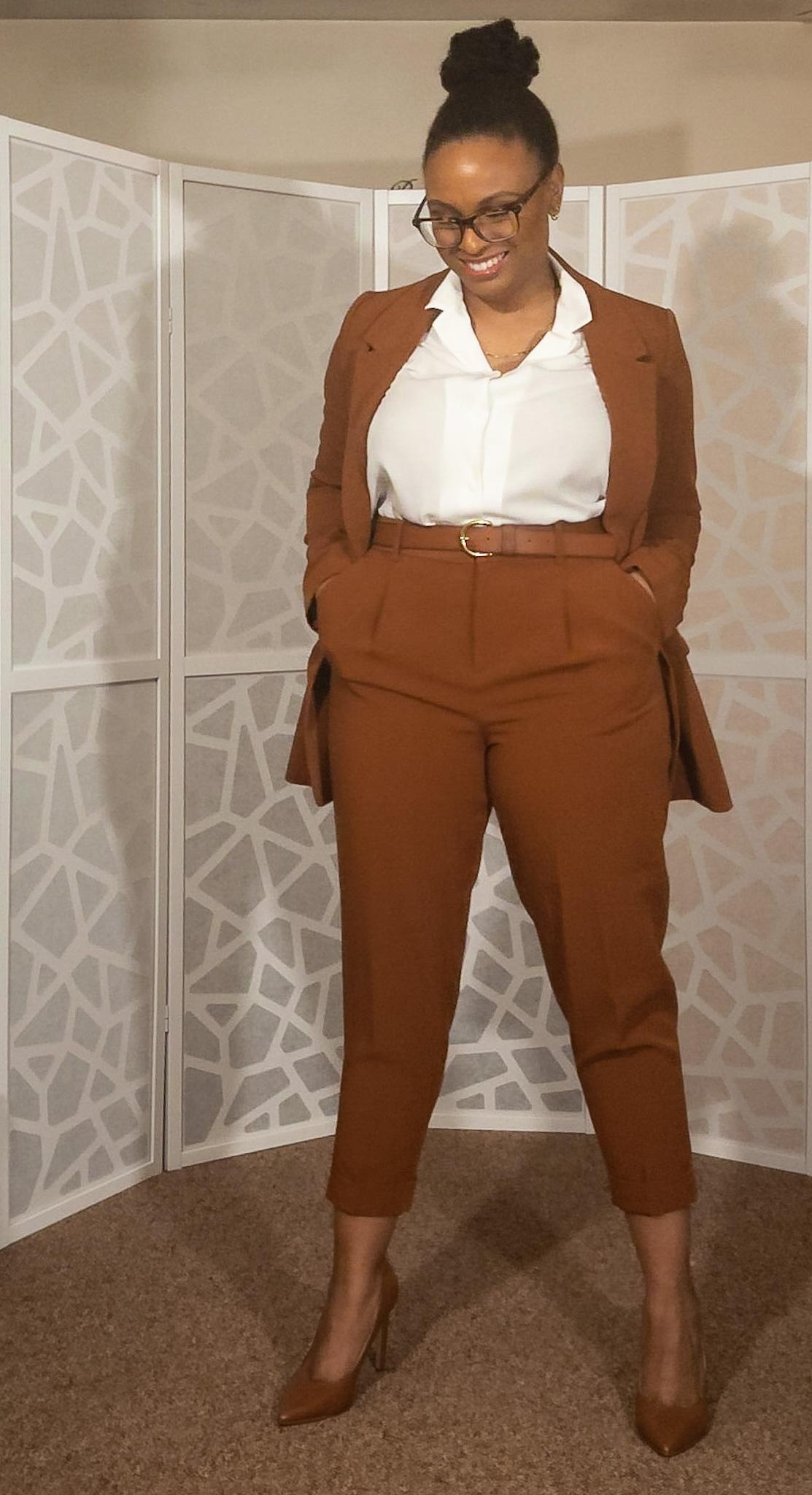 What to Wear: Cognac Suit